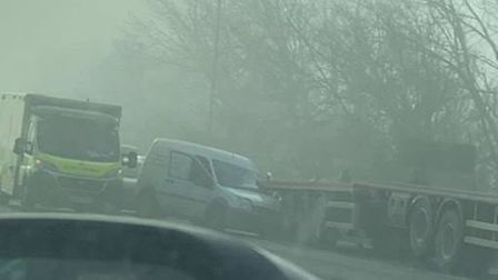 A truck, van and a car were involved in a collision at Hostmoor Avenue, March, this morning. Picture: CONTRIBUTED