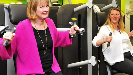 Deputy leader of Labour party Harriet Harman visits Yarmouth Marina Centre.Harriet Harman in the gym