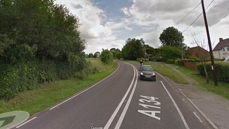 The A134 road in Alpheton as it approaches a bend.