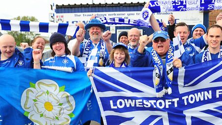 Lowestoft Town Fans gather at Crown Meadow ready to cheer the Trawlerboys on against AFC Hornchurch