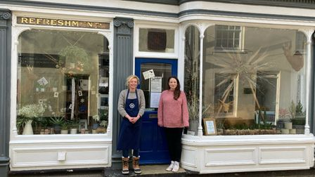 Becky Robinson of North Sea Coffee with Jo Thompson of North Norfolk Lifesaving Surf Club outside Roost in Cromer.