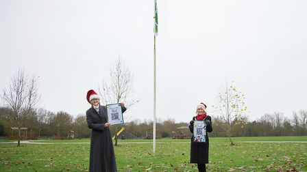 L-R Cllr Anna Bailey and Cllr Lis Every at the launch of the Ely Christmas trail. Picture: MLV Photography
