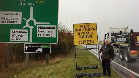 Bold yellow signs alerting drivers to the Ely bypass were put up in 2018 thanks to campaigning from county councillor Bill...