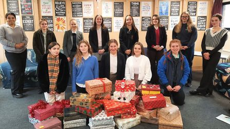 Year 12 students at Kings Ely donated dozens of shoeboxes filled with festive goodies to Ely Foodbank. Picture: Supplied