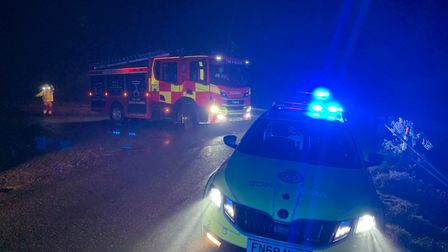 The van driver overturned after clearing a water-filled ditch at Black Drove in Guyhirn on December 7. Picture: Police...