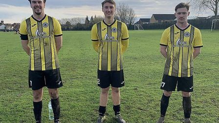 High Easter FC - The Three Wise Men who starred in the 4-2 win against Witham White Horse on Sunday. (Left to right)...