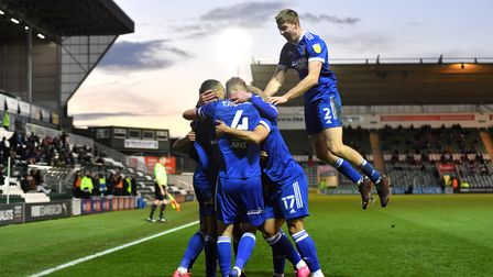 Ipswich Town's Kayden Jackson is mobbed by team-mates after scoring his side's second goal of the ga