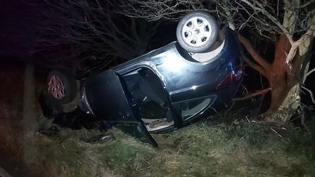 Hedingham Road, in Braintree, is closed following this crash. Picture: ESSEX ROADS POLICING UNIT - NORTH