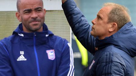 Ipswich Town U23 boss Kieron Dyer, left, has been tipped to be a 'really good coach' by Bryan Klug, right Picture: ARCHANT