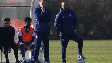 Gerard Nash and Kieron Dyer watch the Town U18s in action Picture: ROSS HALLS
