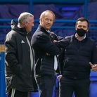Ipswich Town owner Marcus Evans (centre), manager Paul Lambert (left) and general manager of football operations Lee O'Neill ...