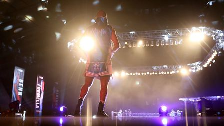 All of the lights - Fabio Wardley ahead of his win over Richard Lartey at the Wembley Arena Picture: MARK ROBINSON