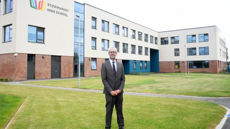 Headteacher Dave Lee-Allan in front of Stowmarket High School's new building Picture: CHARLOTTE BOND