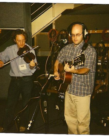 Ivor playing the fiddle recording a session for the BBC's John Peel sessions in London Picture: IVOR OTTLEY