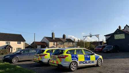 Police cars at the Magpie pub where Irina Kuzmina died in November 2019 Picture: SARAH LUCY BROWN