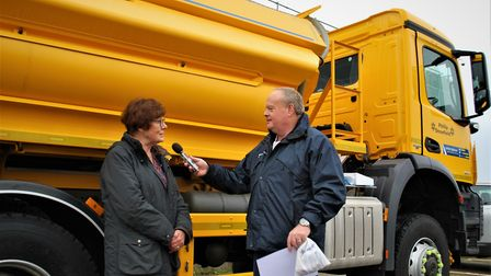 Mary Evans at the unveiling of Suffolk Highways' gritter fleet names. Picture: SUFFOLK HIGHWAYS
