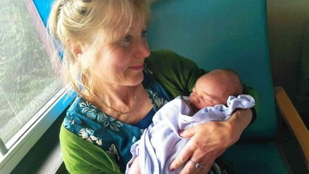 Jenny and her grandson Monty when he was born Picture: STEVE SMITH