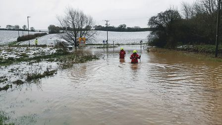 Flooding in Lower Road in Lavenham yesterday afternoon Picture: APA