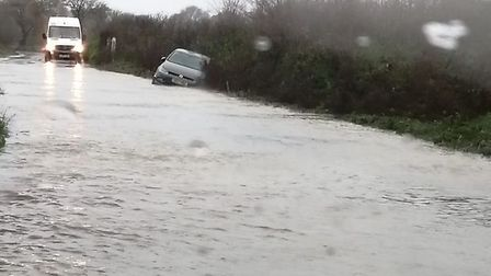 Flooding on the road between Saxmundham and Leiston Picture: CARLA KING