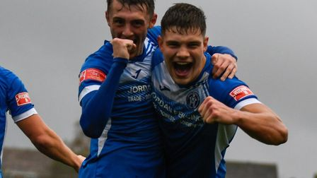 Harry Knights and Liam Jackson celebrate Leistons second goal, in the FA Trophy victory over Worthing. The resumption of...