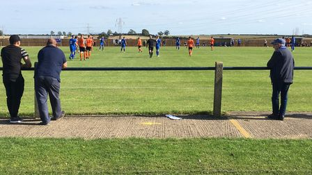 Social distancing at Compton Park on the opening day of a stop-start season, as Bury Town take on hosts Cogenhoe United in...