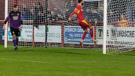 Joe Marsden celebrates converting a penalty during Needham Market's 4-1 win over Three Bridges in the FA Trophy. The...
