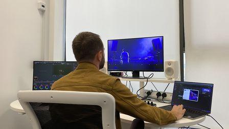 Crafting a digital performance in Editing Suite 2 at the Jerwood DanceHouse Picture: DanceEast