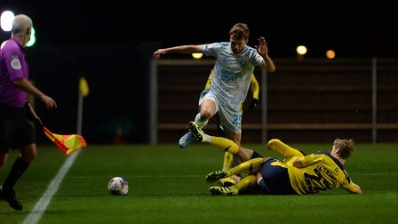 Aaron Drinan led the line for Ipswich Town during Tuesday night's 0-0 draw at Oxford United. Photo: Pagepix Ltd