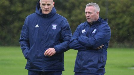Paul Lambert with first team fitness coach Jim Henry, who has now left the club. Picture: ROSS HALLS