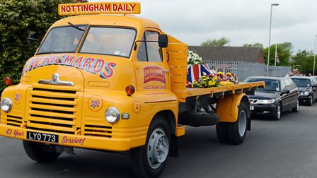 A vintage Jack Richards 1954 Bedford S type lorry carrying Jack Richard's coffin on his final journe