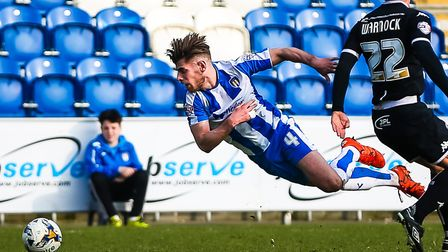 Joe Edwards, in action going to ground for Colchester United, is the regular right wing-back at Plymouth. Picture: STEVE...