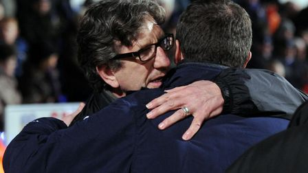 The old managers: Paul Mariner and Roy Keane embrace on the two clubs' last meeting during the 2009-10 season. Mariner was...