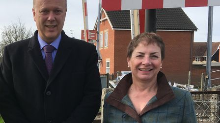 Jane Storey, who has resigned from the Conservatives, pictured with former Tory transport secretary Chris Grayling in...