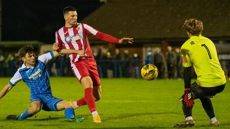 Felixstowe & Walton United striker George Clarke goes close in the second-half during their 2-0 win at Leiston in a...