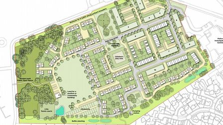An indicative plan of what the layout of the Martlesham police HQ site could be if planning permission for 300 homes is appro...