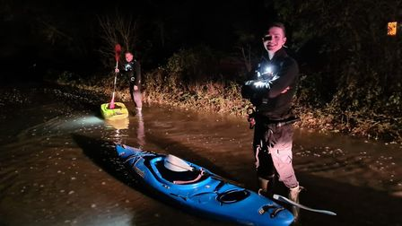 Officers from Haverhill police had to commandeer some kayaks last night to rescue 10 people stuck on a stranded bus in...