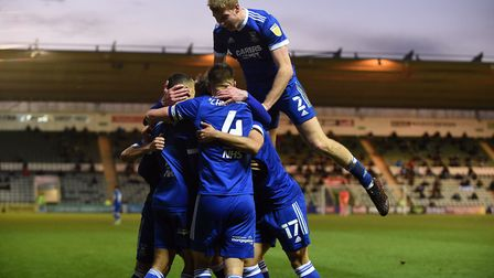 Ipswich players celebrate the Kayden Jackson's winning goal at Plymouth Argyle Picture Pagepix Ltd