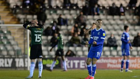 Kayden Jackson celebrates the win at the final whistle at Plymouth Argyle Picture Pagepix Ltd