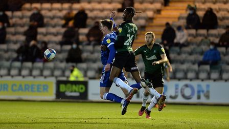 Oli Hawkins chests the ball down for Kayden Jackson to score at Plymouth Argyle Picture Pagepix Ltd