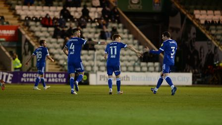 Jon Nolan is congratulated on his goal at Plymouth Argyle Picture Pagepix Ltd