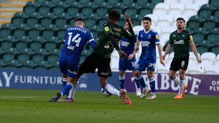 Jack Lankester is caught by a challenge on the edge of the penalty area at Plymouth Argyle Picture Pagepix Ltd
