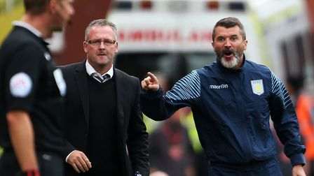 Blast from the past: Current Town boss Paul Lambert, then at Stoke City, alongside a bearded Roy Keane, the ex-Town boss...