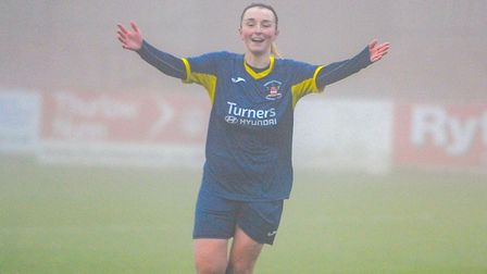 Lois Belfour celebrates her goal in Needham Market's 8-2 win at Histon Picture: Ben Pooley