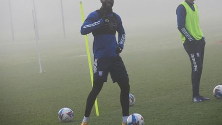 Kane Vincent-Young was all smiles as he returned to Ipswich Town training today Picture: IPSWICH TOWN TWITTER