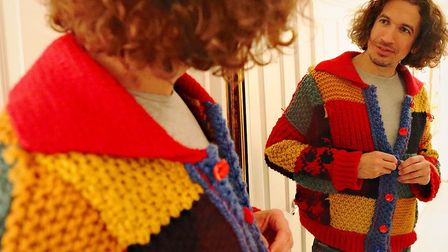 Stuart Race donning his very own hand-knitted Harry Styles cardigan. Picture: The Woolpatch