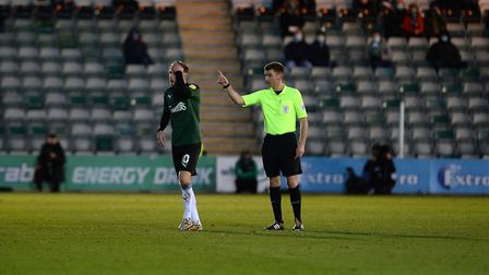 Turning point: Danny Mayor is sent off against Ipswich at Plymouth Argyle Picture Pagepix Ltd
