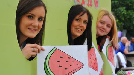 Norfolk and Norwich University Hospital open day and fete. Human fruit machine, left to right Chelse