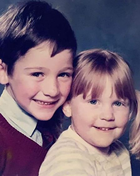 Adrian and his sister Julia when they were young. Picture: WHITE FAMILY