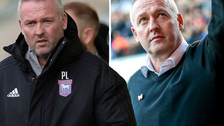 Paul Lambert pictured during his first game in charge of Ipswich Town (right) and his 100th at Plymouth (left). Picture...
