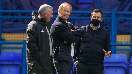 Ipswich Town owner Marcus Evans (centre), manager Paul Lambert (left) and general manager of football operations Lee...